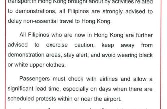 PHL Consulate General: Avoid non-essential travel to Hong Kong