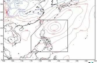 """Nimfa"" almost stationary; Cagayan Valley, 2 other areas to have cloudy skies, scattered rainshowers due to trough of TD"