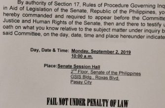 The Senate panel on justice and human rights' subpoena for Bureau of Corrections chief Nicanor Faeldon.