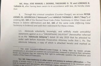 Lawyers Erin Tañada, Theodore Te and Chel Diokno, who are facing sedition charges, have filed counter-charges for perjury and for offering false testimony in evidence against Peter Joemel Advincula, who claimed to be the yellow-hooded character in the Ang Totoong Narcolist videos against President Rodrigo Duterte's family, and Arnold Thomas Ibay, the lawyer of the CIDG that acts as a complainant in the sedition charges. /Moira Encina/Eagle News/