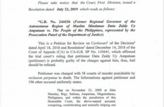 The Supreme Court first division has affirmed the denial of bail for Zaldy Ampatuan, an accused in the Maguindanao massacre of 2009./Moira Encina/Eagle News/