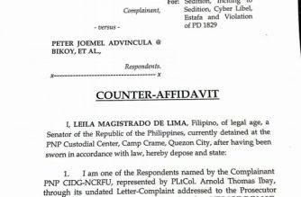"De Lima: Sedition complaint ""bereft of any imputation"" vs me"