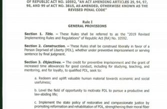 The first page of the revised Implementing Rules and Regulations of the Good Conduct Time Allowance law. /Moira Encina/Eagle News/