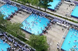 A drone shot of the ongoing Iglesia Ni Cristo (Church Of Christ) Grand Baptism on Saturday, Sept. 7, 2019, which is also the 10th anniversary of Brother Eduardo V. Manalo as INC Executive MInister.  (Photo courtesy CEBSI)