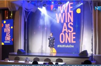 "Singer-actress Lea Salonga singing the SEA Games 2019 official theme song, ""We are One"" during its press launch on Tuesday, Sept. 3, 2019.  (Eagle News Service)"