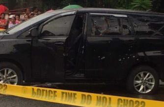 Former Pangasinan Gov. Amado Espino Jr. was on board this vehicle when he was ambushed on Wednesday, Sept. 11. /Photo c/o Senator Richard Gordon/