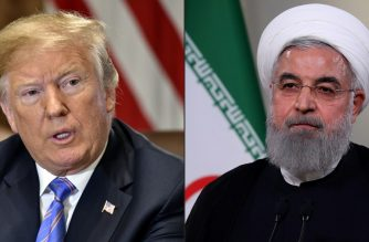 (FILES)(COMBO) This combination of file pictures created on July 23, 2018 shows US President Donald Trump during a cabinet meeting on July 18, 2018, at the White House in Washington, DC, and a file handout picture provided by the Iranian presidency on May 2, 2018 on showing President Hassan Rouhani giving a speech on Iranian TV in Tehran.  (Photos by Nicholas Kamm and HO / various sources / AFP)