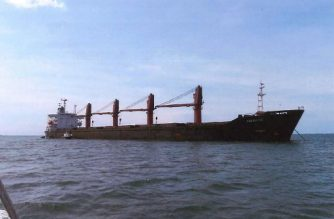 "This undated image released by the US Attorney's Office for the Southern District of New York, shows the cargo vessel ""Wise Honest."" - The US on May 9, 2019, announced the seizure of the North Korean ""Wise Honest,"" saying it had violated international sanctions by exporting coal and importing machinery. ""Our office uncovered North Korea's scheme to export tons of high-grade coal to foreign buyers by concealing the origin of their ship, the Wise Honest,"" Geoffrey Berman, US Attorney for the Southern District of New York, said in a statement. ""This scheme not only allowed North Korea to evade sanctions, but the Wise Honest was also used to import heavy machinery to North Korea,"" Berman said. (Photo by HO / US Attorney's Office / AFP) / RESTRICTED TO EDITORIAL USE - MANDATORY CREDIT ""AFP PHOTO / US Attorney's Office for the Southern District of New York"" - NO MARKETING NO ADVERTISING CAMPAIGNS - DISTRIBUTED AS A SERVICE TO CLIENTS"
