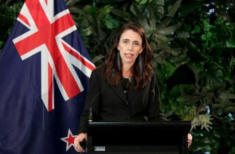 New Zealand's Prime Minister Jacinda Ardern (R) speaks during a joint press conference with the leader of the Neterlands at Government House in Auckland on October 8, 2019. (Photo by DAVID ROWLAND / AFP)