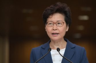 (File photo) Hong Kong Chief Executive Carrie Lam takes part in her weekly press conference in Hong Kong on October 8, 2019. - Semi-autonomous Hong Kong has been battered by four months of increasingly violent pro-democracy protests sparked by opposition to a now-scrapped bill allowing extraditions to China. (Photo by Nicolas ASFOURI / AFP)