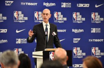 NBA Commissioer Adam Silver speaks during a press conference prior to the NBA Japan Games 2019 between the Toronto Raptors and Houston Rockets in Saitama on October 8, 2019. - The NBA will not regulate the speech of players, employees and owners, the organisation's commissioner said Tuesday after a tweet from a Houston Rockets executive sparked a backlash in China. (Photo by Kazuhiro NOGI / AFP)