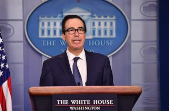 US Secretary of the Treasury Steven Mnuchin speaks in the briefing room of the White House in Washington, DC, on Octopber 11, 2019. (Photo by Nicholas Kamm / AFP)