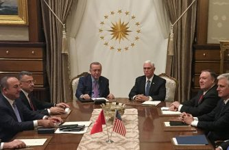 Turkish President Recep Tayyip Erdogan (C-L) and US Vice President Mike Pence (C-R), joined by Secretary of State Mike Pompeo (4R), Turkish Vice President Fuat Oktay (4L), Turkish Foreign Minister Mevlut Cavusoglu (3L) and senior aides, meet at the presidential complex in Ankara, Turkey, on October 17, 2019. - Pence is seeking a ceasefire in Turkey's offensive against Syrian Kurdish fighters. (Photo by Shaun TANDON / POOL / AFP)