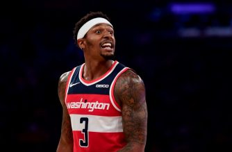 (FILES) In this file photo taken on October 11, 2019, Bradley Beal of the Washington Wizards reacts during their game against the New York Knicks at Madison Square Garden in New York City. NOTE TO USER: User expressly acknowledges and agrees that, by downloading and or using this photograph, User is consenting to the terms and conditions of the Getty Images License Agreement.   Emilee Chinn/Getty Images/AFP - Beal signed a two-year contract extenstion worth the maximum $72 million with the Washington Wizards that begins with the 2021-22 season, the team announced on October 17, 2019. (Photo by Emilee Chinn / GETTY IMAGES NORTH AMERICA / AFP)