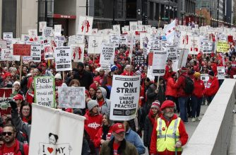 Teachers and supporters gather for the rally on the first day of strike by the Chicago Teachers Union on October 17 2019 in Chicago, Illinois. (Photo by KAMIL KRZACZYNSKI / AFP)
