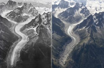"This handout photograph released by The University of Dundee on October 22, 2019, shows a combination of aerial views of The Mer de Glace Glacier, near Chamonix, south-eastern France taken in 1919 (L) and August 2019 (R). - In 1919, the Swiss pilot and photographer Walter Mittelholzer flew over Mont Blanc in a biplane photographing the alpine landscape. Exactly 100 years later, researchers from the University of Dundee in Scotland have recreated his photographs to show the impact that climate change has had upon the mountain's glaciers. (Photo by WALTER MITTELHOLZER and Kieran Baxter / various sources / AFP) / RESTRICTED TO EDITORIAL USE - MANDATORY CREDIT ""AFP PHOTO / UNIVERSITY OF DUNDEE / ETH-Biblothek Zurich/ KIERAN BAXTER/WALTER MITTELHOLZER"" - NO MARKETING - NO ADVERTISING CAMPAIGNS - DISTRIBUTED AS A SERVICE TO CLIENTS- NO ARCHIVES / To go with AFP story by Amélie BOTTOLLIER-DEPOIS"
