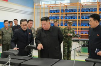"This undated picture released from North Korea's official Korean Central News Agency (KCNA) on October 27, 2019 shows North Korean leader Kim Jong-Un (C) visiting Myohyangsan Medical Appliances Factory in Myohyangsan. (Photo by STR / KCNA VIA KNS / AFP) / South Korea OUT / ---EDITORS NOTE--- RESTRICTED TO EDITORIAL USE - MANDATORY CREDIT ""AFP PHOTO/KCNA VIA KNS"" - NO MARKETING NO ADVERTISING CAMPAIGNS - DISTRIBUTED AS A SERVICE TO CLIENTS / THIS PICTURE WAS MADE AVAILABLE BY A THIRD PARTY. AFP CAN NOT INDEPENDENTLY VERIFY THE AUTHENTICITY, LOCATION, DATE AND CONTENT OF THIS IMAGE --- /"