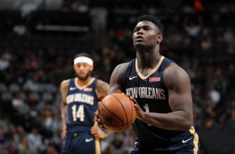 SAN ANTONIO, TX - OCTOBER 13: Zion Williamson #1 of the New Orleans Pelicans shoots a free throw against the San Antonio Spurs during a pre-season game on October 13, 2019 at the AT&T Center in San Antonio, Texas. NOTE TO USER: User expressly acknowledges and agrees that, by downloading and or using this photograph, user is consenting to the terms and conditions of the Getty Images License Agreement. Mandatory Copyright Notice: Copyright 2019 NBAE   Joe Murphy/NBAE via Getty Images/AFP