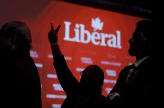 MONTREAL, QC - OCTOBER 21: Liberal supporters react as they watch results roll in at Canadian Prime Minister Justin Trudeau's election night headquarters on October 21, 2019 in Montreal, Canada. Trudeau is predicted to remain in power with a Minority Government.   Cole Burston/Getty Images/AFP