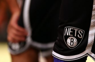 NEW YORK, NY - OCTOBER 15: A view of the Brooklyn Nets logo on the player uniforms during the game against the Washington Wizards during a preseason game at the Barclays Center on October 15, 2012 in the Brooklyn borough of New York City. NOTE TO USER: User expressly acknowledges and agrees that, by downloading and/or using this photograph, user is consenting to the terms and conditions of the Getty Images License Agreement.   Elsa/Getty Images/AFP