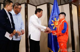 President Rodrigo Roa Duterte meets 49th FIG Artistic Gymnastics World Championships Gold Medalist Carlos Yulo at the Malago Clubhouse in Malacañang on October 16, 2019. KING RODRIGUEZ/PRESIDENTIAL PHOTO