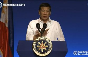 President Rodrigo Duterte speaking to the members of the Filipino community in Russia on Saturday, October 5, 2019.  (Photo grabbed from RTVM/Courtesy RTVM)