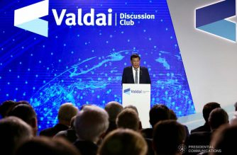 President Rodrigo Roa Duterte delivers his speech during the plenary session of the 16th Annual Meeting of the Valdai Discussion Club at the Polyana 1389 Hotel in Sochi, Russia on October 3, 2019. RICHARD MADELO/PRESIDENTIAL PHOTO