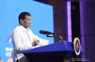 President Rodrigo Roa Duterte delivers his speech during the 45th Philippine Business Conference and Expo at The Manila Hotel on October 17, 2019. VALERIE ESCALERA/PRESIDENTIAL PHOTO