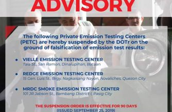 DOTr suspends several emission test centers for alleged falsification of test results