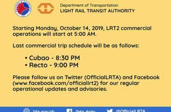 LRT-2 ops to begin earlier starting Monday, Oct. 14