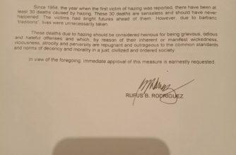 Solon wants hazing declared as heinous crime in certain circumstances