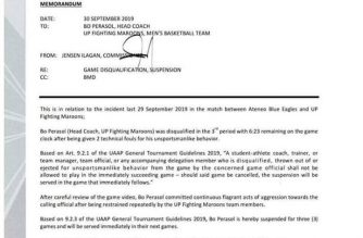 UP coach Bo Perasol suspended for three games