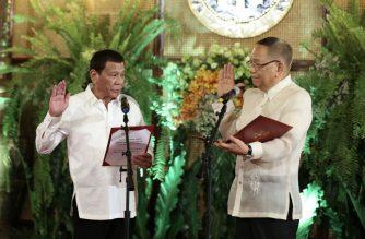 President Rodrigo Duterte on Thursday, Oct. 24, administered the oath of newly appointed Chief Justice Diosdado Peralta./c/o Senator Bong Go/