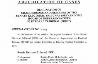 Chief Justice Peralta designates chairs, members of Senate, House electoral tribunals