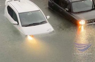 Cars are seen submerged in rising floodwaters in Toyama, Japan as rains from typhoon Hagibis pound the area. (Photo courtesy Karen Formeloza, EBC Japan Bureau/Eagle News Service)