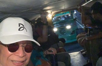 Presidential Spokesperson Salvador Panelo takes a jeepney to go to work to Malacanang early Friday morning, October 11, 2019.  (Photo courtesy Secretary Salvador Paneo thru Viber)