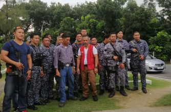 BuCor Chief Gerald Bantag (in white shirt) has said the policemen from the National Capital Region Police Office will  take the place of the around 3000 BuCor personnel who will undergo a retraining. /Meanne Corvera/Eagle News/
