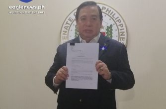 Senator Richard Gordon, chair of justice and human rights committee, holds the report of the joint Senate panel that probed the ninja cops issue and that recommended the filing of charges against former PNP Chief Oscar Albayalde, and Rodney Baloyo's group./Meanne Corvera/Eagle news/
