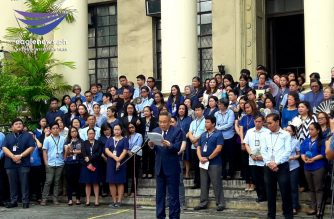 Newly installed Chief Justice Diosdado Peralta laid down his ten-point program during his first flag-raising ceremony as the country's top magistrate on Monday, Oct. 28./Moira Encina/Eagle News/