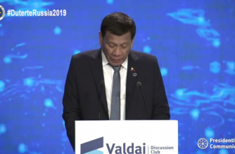 President Rodrigo Duterte delivers his speech before the plenary session of the Valdai Discussion Club in Sochi, Russia, where is on official visit./PCOO/