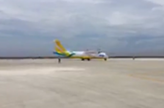 A Cebu Pacific plane lands on the Sangley airport runway as part of the Cavite airport's operational dryrun on Tuesday, Oct. 29./DOTr/