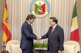 Ambassador of Spain to the Philippines, H.E. Jorge Moragas Sanchez during his courtesy call on Iglesia Ni Cristo (Church Of Christ) Executive Minister Brother Eduardo V. Manalo on Wednesday, October 9, 2019 at the INC Museum in Quezon City.  (Photo courtesy INC-PIO)