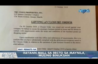 Manila City gov't lifts closure order on Isetann two days after it was shut down