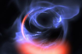 "This handout photo released on October 31, 2018 by the European Southern Observatory (ESO) shows an image taken by an exquisitely sensitive Gravity instrument which has added further evidence to the long-standing assumption that a supermassive black hole lurks in the centre of the Milky Way. - New observations show clumps of gas swirling around at about 30% of the speed of light on a circular orbit just outside a four million solar mass black hole — the first time material has been observed orbiting close to the point of no return, and the most detailed observations yet of material orbiting this close to a black hole. This visualisation uses data from simulations of orbital motions of gas swirling around at about 30% of the speed of light on a circular orbit around the black hole. (Photo by HO / European Southern Observatory / AFP) / RESTRICTED TO EDITORIAL USE - MANDATORY CREDIT ""AFP PHOTO /ESO "" - NO MARKETING NO ADVERTISING CAMPAIGNS - DISTRIBUTED AS A SERVICE TO CLIENTS"