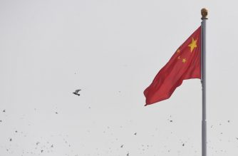 Doves fly past the national flag in Tiananmen Square during the National Day parade in Beijing on October 1, 2019, to mark the 70th anniversary of the founding of the People's Republic of China. (Photo by GREG BAKER / AFP)