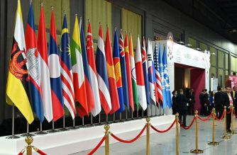 The national flags of the various countries attending the 35th Association of Southeast Asian Nations (ASEAN) Summit are displayed in Bangkok on November 4, 2019. (Photo by Romeo GACAD / AFP)