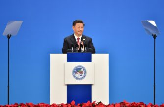 China's President Xi Jinping speaks during the opening ceremony of the China International Import Expo in Shanghai on november 5, 2019. (Photo by HECTOR RETAMAL / AFP)