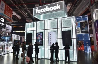 A Facebook stand during the second China International Import Expo in Shanghai on november 6, 2019. (Photo by HECTOR RETAMAL / AFP)