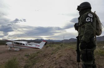 "Members of the Mormon community Lebaron arrive by plane from the United States to the municipality of Bavispe, in the Sonora mountain range, Mexico, on November 6, 2019. - Mexican authorities said Wednesday they believe a drug cartel called ""La Linea"" was responsible for the murder of the three women and six children, saying the massacre was committed with American-made ammunition. Eight other children managed to escape, six of them wounded. (Photo by Herika Martinez / AFP)"