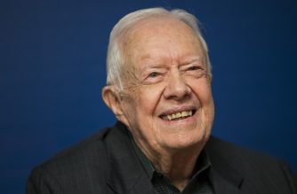 "(FILES) In this file photo Former U.S. President Jimmy Carter smiles during a book signing event for his new book 'Faith: A Journey For All' at Barnes & Noble bookstore in Midtown Manhattan, March 26, 2018 in New York City. - November 11, 2019 Former US president Jimmy Carter was hospitalized for a procedure necessitated by a series of recent falls, The Carter Center said. Carter ""was admitted to Emory University Hospital this evening for a procedure to relieve pressure on his brain, caused by bleeding due to his recent falls,"" The Carter Center said in a statement, adding that the procedure would take place on Tuesday morning. (Photo by Drew Angerer / GETTY IMAGES NORTH AMERICA / AFP)"